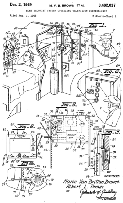 A sketch of the patent for a home security system designed by inventor Marie Van Brittan Brown.