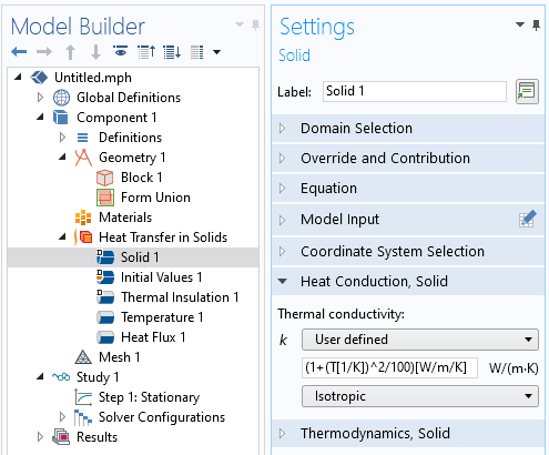 The Settings window for the Heat Transfer in Solids interface with manually defined settings for thermal conductivity.