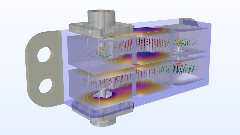 Couple RF, thermal, and stress analyses to design for 5G applications, like this cascaded cavity filter.