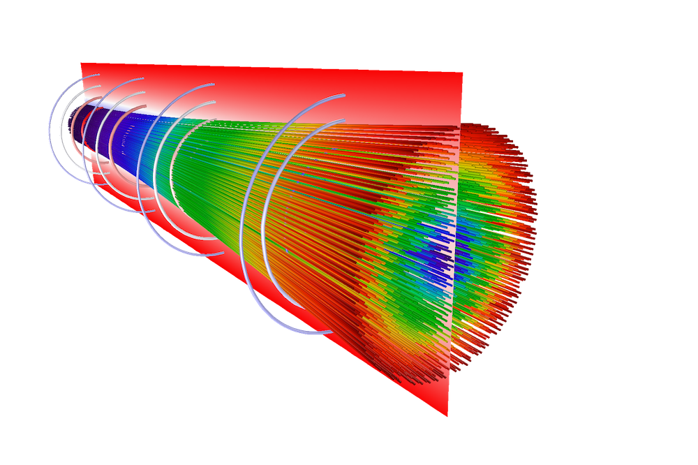 A 3D model of a diverging electron beam modeled in COMSOL Multiphysics with a rainbow color table.