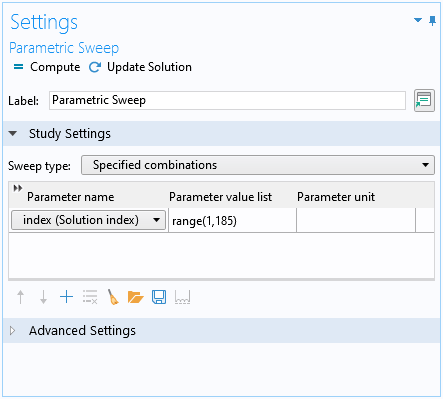 A screenshot of the study settings for a parametric sweep.