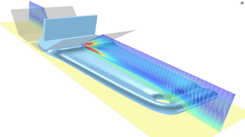 A visualization of a simulation in which a slot die is coated with a shear-thinning fluid using the Polymer Flow Module.