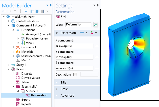 A screenshot of the Deformation Settings window with the average operator used for modeling parts without constraints.