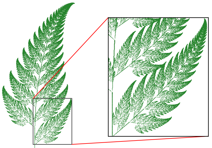 An image of a computer-generated Barnsley fern leave with part of the repeating structure zoomed in on and highlighted.