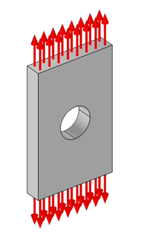 A schematic of a classic problem in solid mechanics, in which a flat plate with a hole (shown in gray) is under a tension load (shown with red arrows).