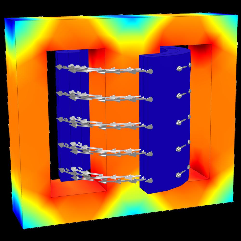 A model of an E-core transformer.