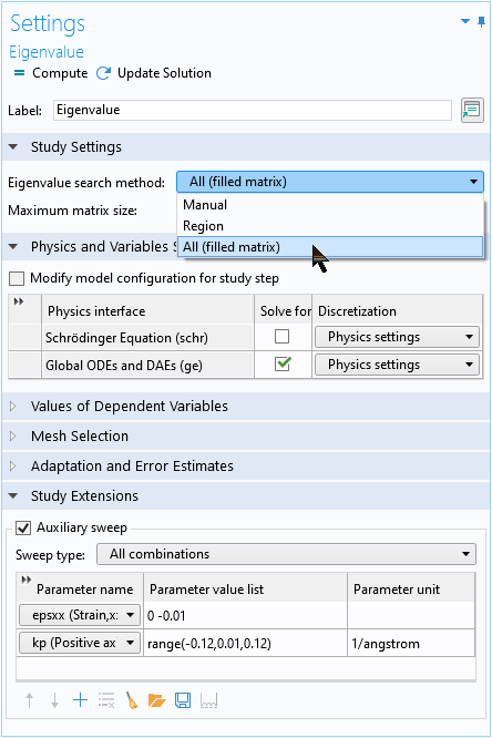 A screenshot of the Eigenvalue Settings window with the All option highlighted.