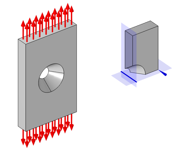 Side-by-side views of the flat plate model when using two planes of symmetry.