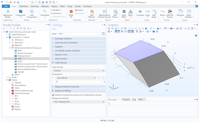 A screenshot of the COMSOL Multiphysics Model Builder UI with the Inlet Settings window expanded.