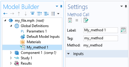 A screenshot of a Settings window showing how to add a call to a method in the Model Builder.