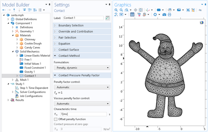 The COMSOL Multiphysics user interface with the Contact settings open and a mesh of Santa Claus in the Graphics window.