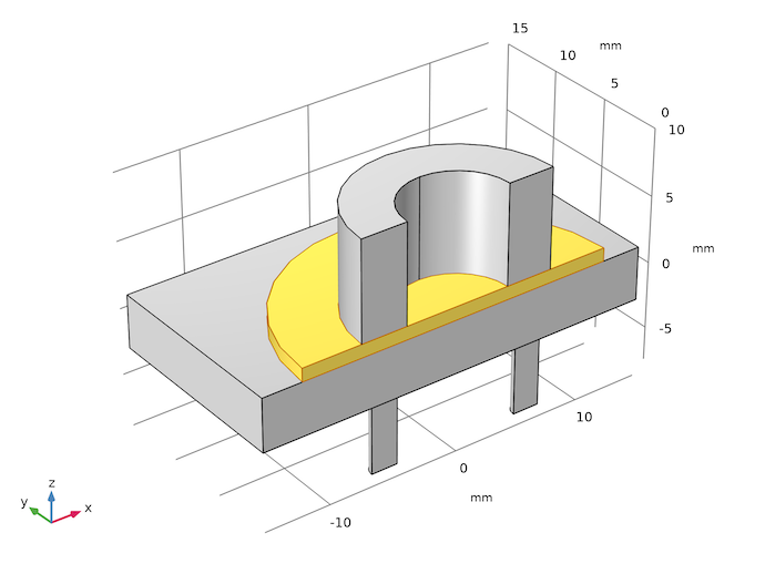 A piezoelectric micropump model geometry with the membrane highlighted in yellow.