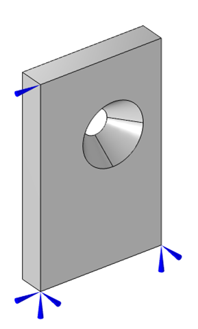 The flat plate model with the off-center hole and three point displacement constraints visualized with blue arrows.
