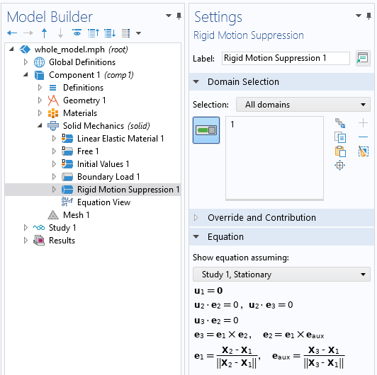 A screenshot of the Rigid Motion Suppression feature Settings window, with the Domain Selection and Equation sections expanded.