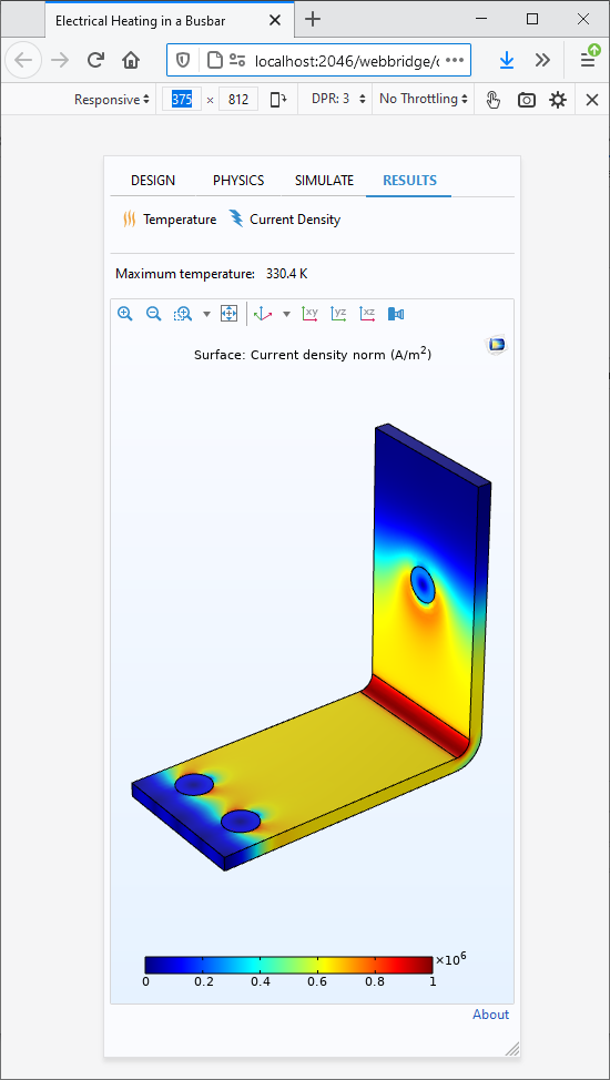 A busbar simulation app opened in a Firefox web browser to test the modified design.
