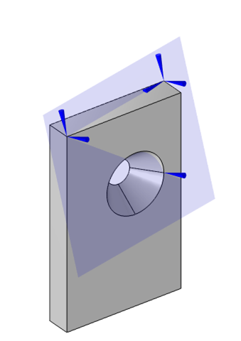 The flat plate solid mechanics model with the three point displacement constraints visualized in a blue transparent box.