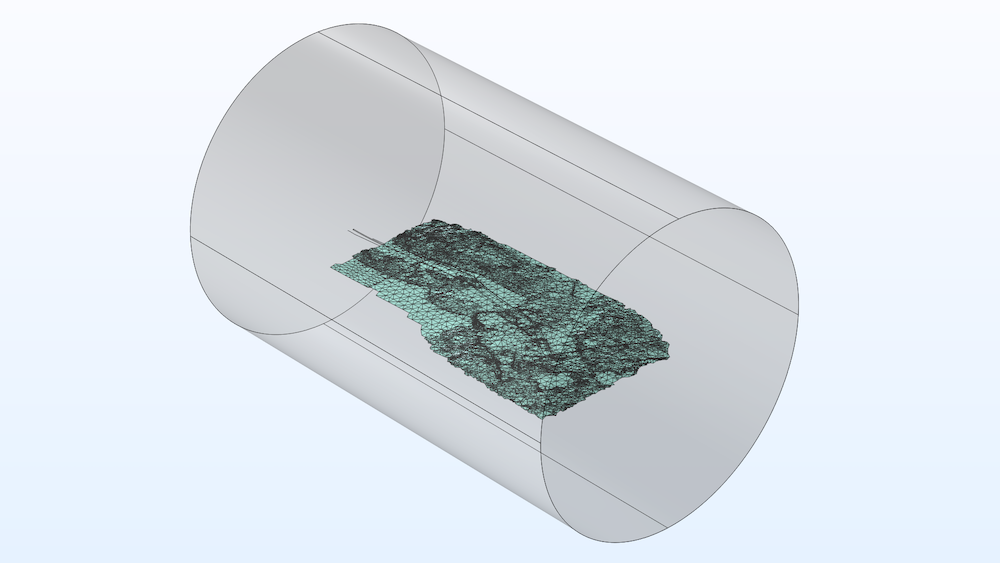 A 3D view of the modeling domain for the transmission line model.