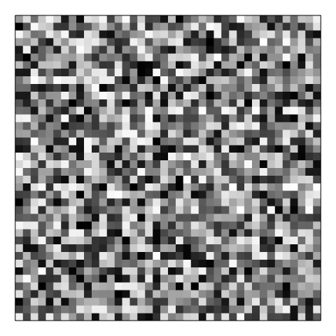 A grayscale visualization of white noise that has uniform distribution.