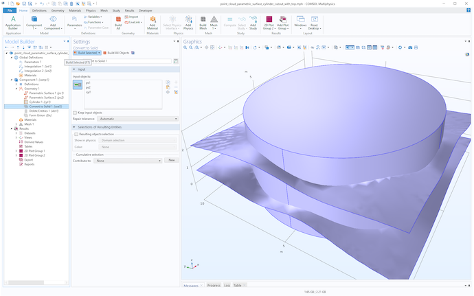 A screenshot of the Model Builder in COMSOL Multiphysics with a purple geometry made up of a cylinder and two parametric surfaces.