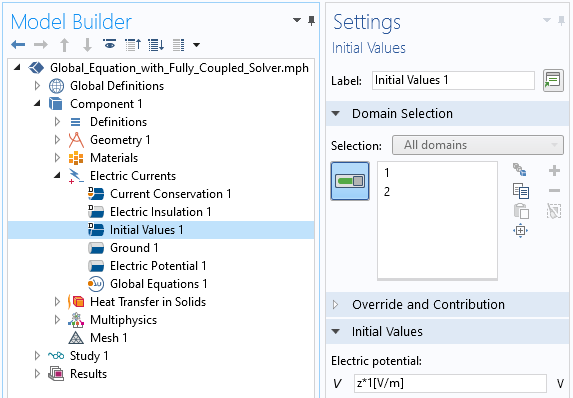 A screenshot of the Initial Values Settings window within the Electric Currents physics interface.