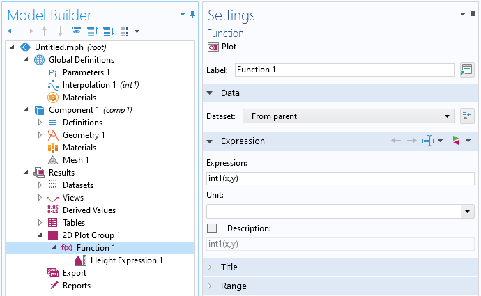 A screenshot of the Function Settings window with the Data and Expression sections expanded.