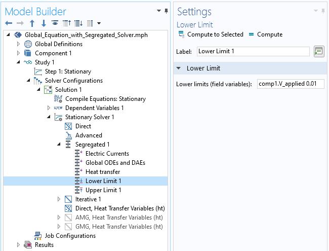 """""""下限设置""""窗口的屏幕快照,用于在隔离的求解器中实现下限。"""