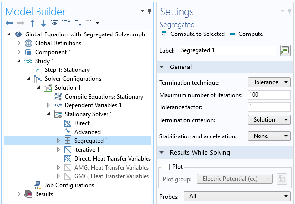 A screenshot of the segregated solver settings with the General and Results While Solving sections expanded to show how to plot probes at every iteration.