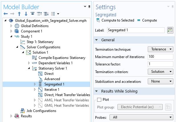 """屏幕截图显示了分离的求解器设置的屏幕截图,其中包括""""常规""""和""""求解时结果""""部分,以显示如何在每次迭代时绘制探针。"""