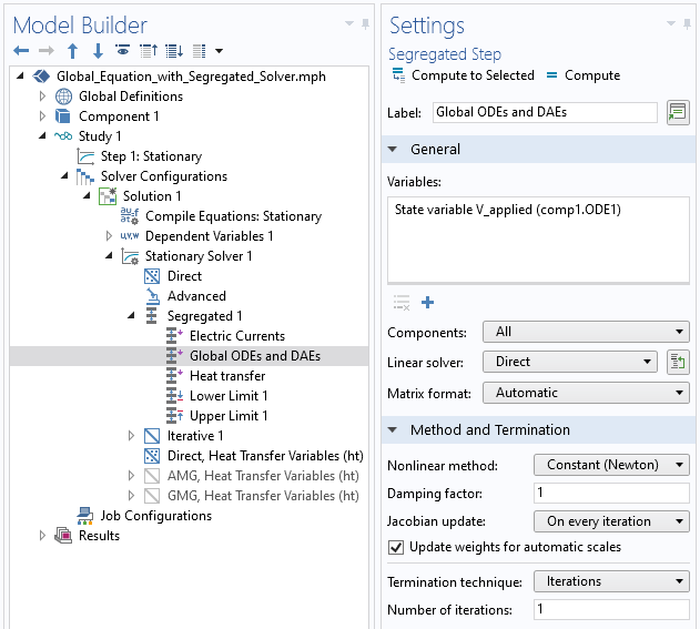 A screenshot of the Settings window for the segregated solver, with the General and Method and Termination sections expanded to implement the global equation.