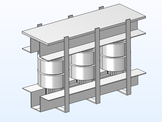 A 3D model geometry of a power transformer with carpentry included.