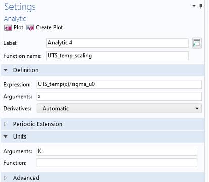 A screenshot of the Analytic Settings window with the Definition and Units sections expanded.
