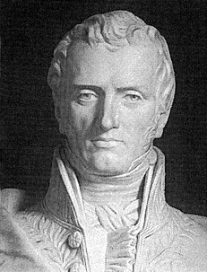 A photograph of a stone sculpture of Claude-Louis Navier.
