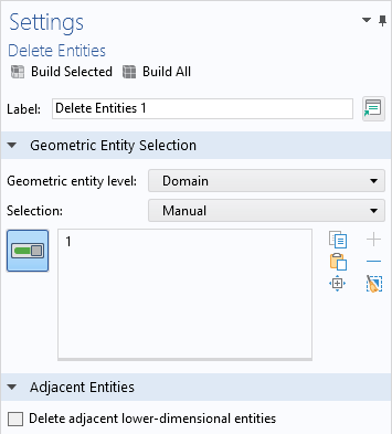 A screenshot of the Settings window for the Delete Entities operation, with the Geometric Entity Selection section expanded.