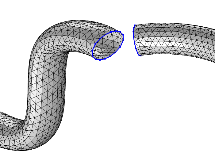 Two meshed pipes with their disconnected edges highlighted in blue.