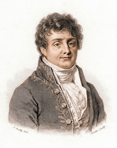 A colorized illustration of Joseph Fourier.