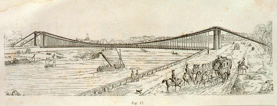 A drawing of the Pont des Invalides bridge designed by Claude-Louis Navier.