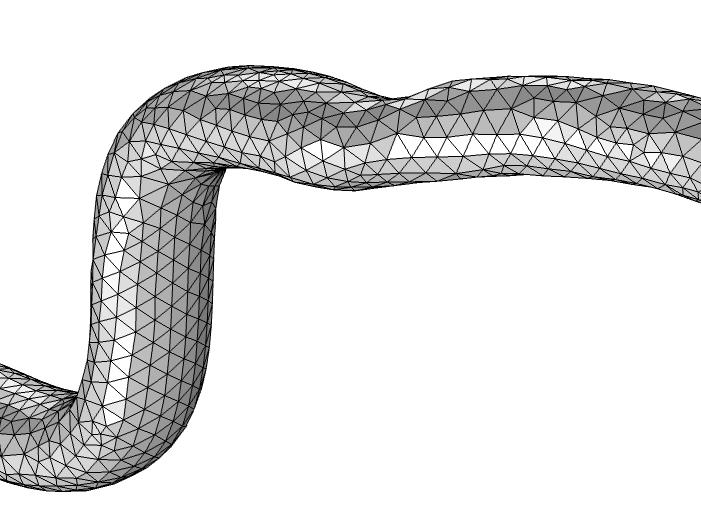 An image of two originally disconnected meshed pipes that have been joined and smoothed out via the Free Triangular operation.