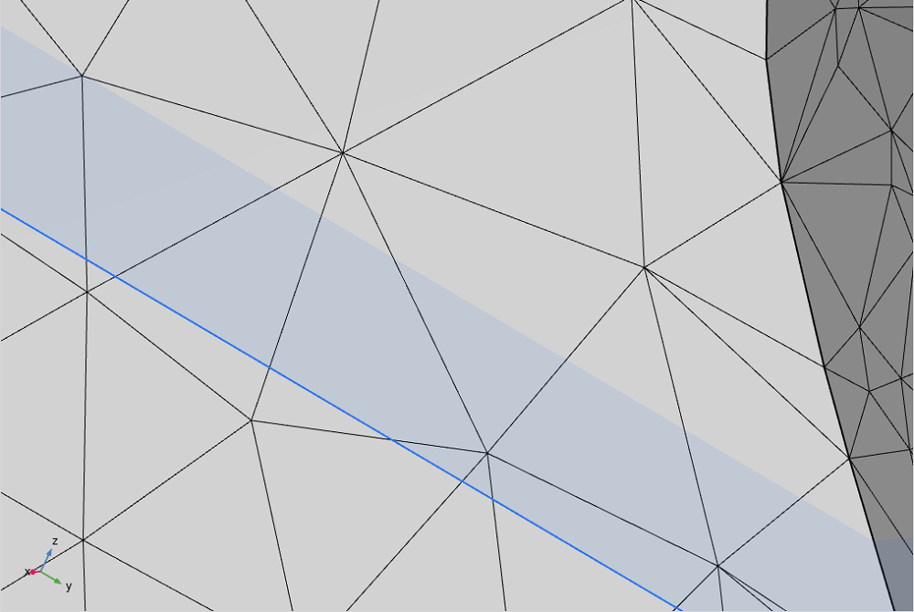 A surface mesh that has a plan intersecting it at z=1, highlighted in blue.