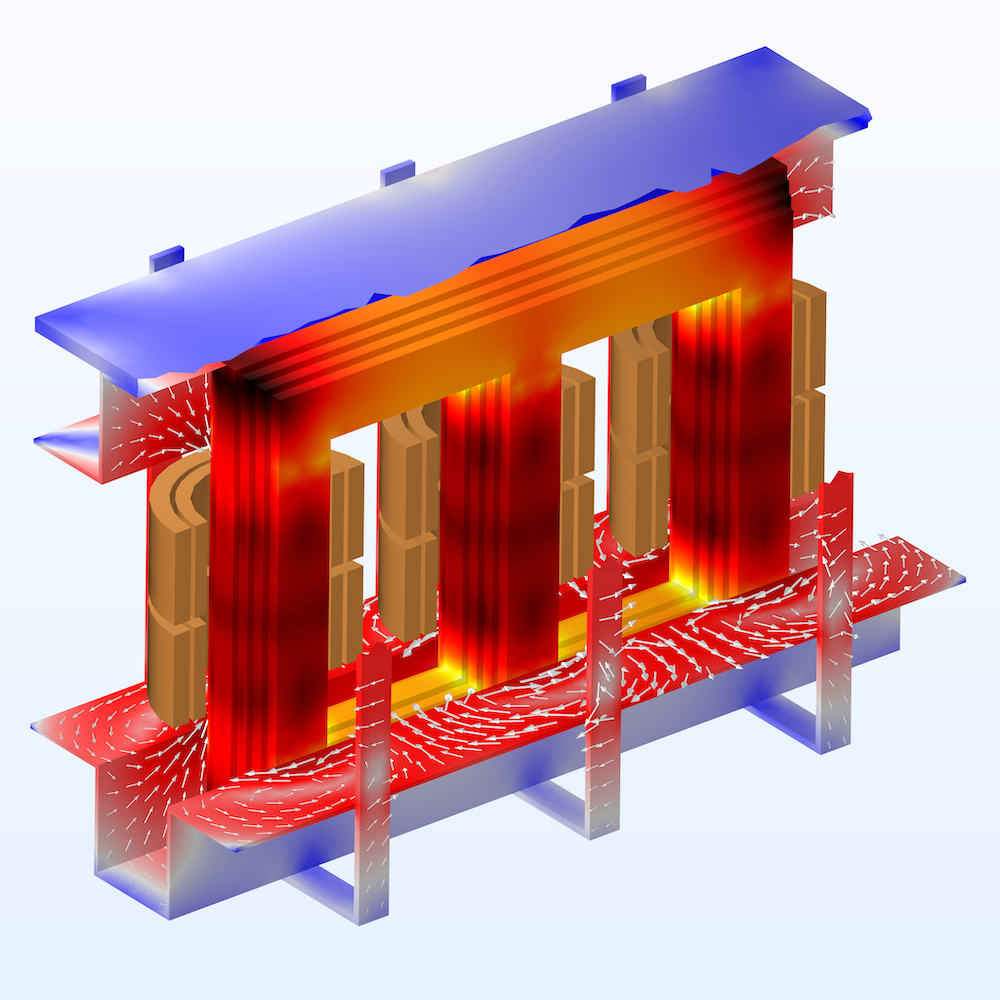 A three-phase transformer model with a red-blue color gradient and white streamlines visualizing the electromagnetic losses, modeled in COMSOL Multiphysics.