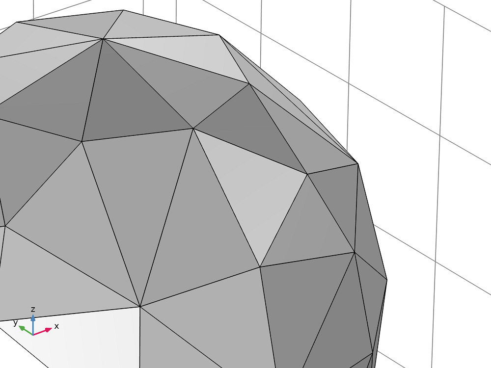 An image of a unit sphere meshed with coarse triangles.