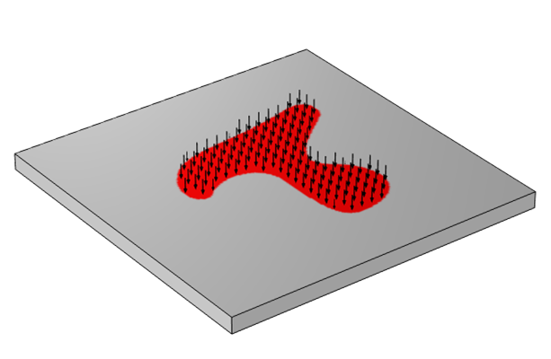 A schematic of a nonuniform heat load, shown in red with black arrows, applied on a piece of material shown as a gray square.
