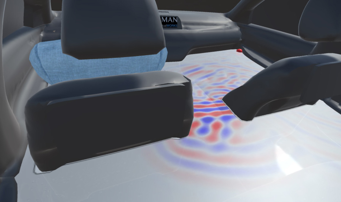 An augmented view of the back seat of a car with an overlay of the acoustic sound field shown in reds and blues.