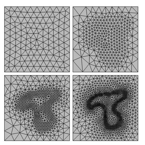 4 boxes showing the sequence for the first 4 meshes generated with an adaptive mesh refinement algorithm for a nonuniform heating model.