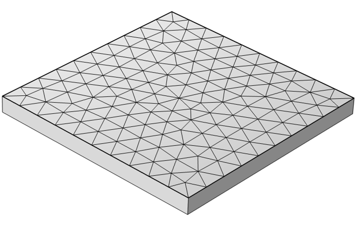 A model with a square geometry and an adaptive mesh applied to its top surface.
