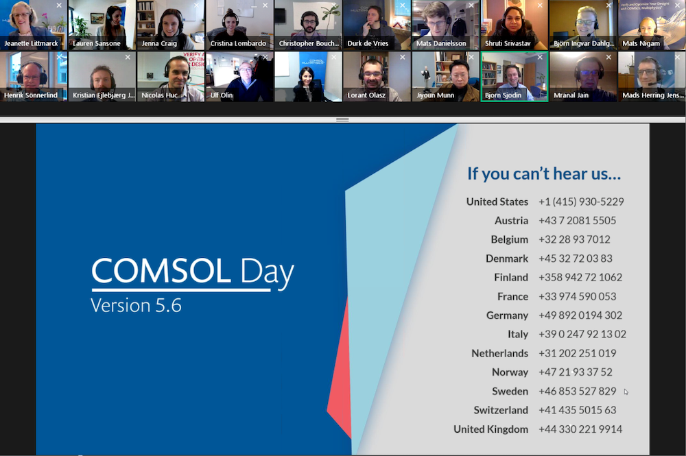 A screenshot of a GoToWebinar interface with COMSOL Day speakers and a presentation slide with various phone numbers.