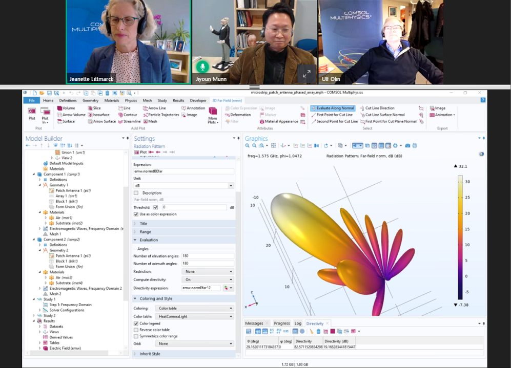 A screenshot from a COMSOL Day event, with three presenters shown along the top bar and the COMSOL Multiphysics Model Builder with an antenna model open on the lower part of the screen.