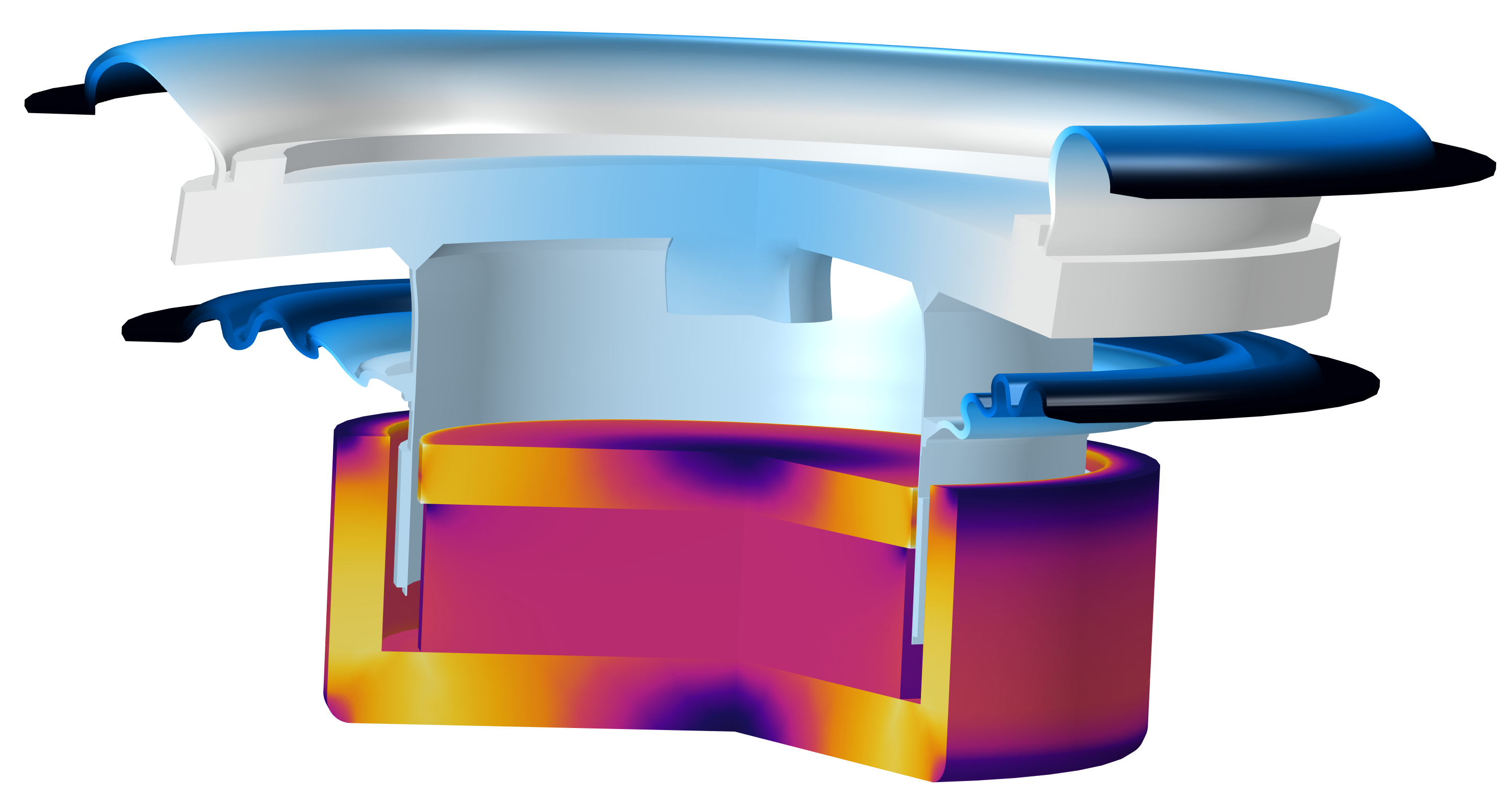 A fully coupled BMR speaker model with the diaphragm visualized in a blue color gradient and the driver visualized in magenta and orange.