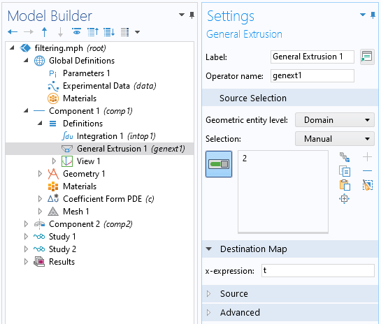 A screenshot of the Settings window for the General Extrusion operator, with the Source Selection section expanded.