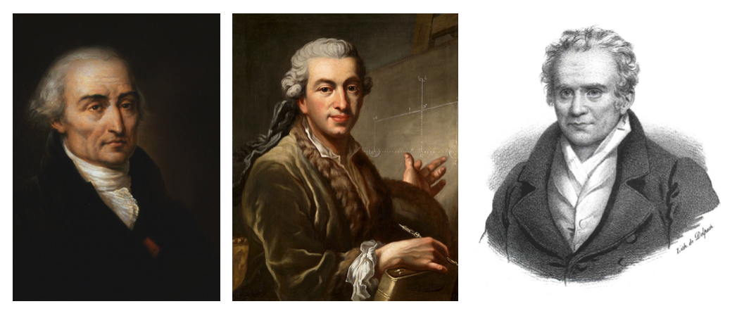 3 side-by-side portraits of Joseph-Louis Lagrange, Pierre-Simon Laplace, and Gaspard Monge, all of whom had a profound impact on Joseph Fourier.