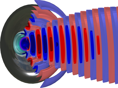 A model of a loudspeaker tweeter dome visualized with red and blue waves in COMSOL Multiphysics.